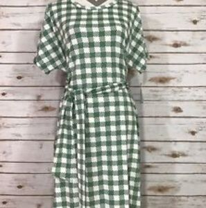 NWT green and white plaid marly dress